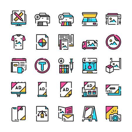 Typography symbols color linear vector icon set Vettoriali
