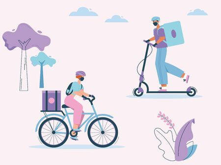 Woman and man couriers with packages on bicycle or kick scooter Иллюстрация