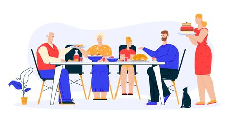 Vector character illustration of family dinner Illustration