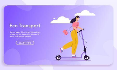 Vector banner illustration of urban eco transport