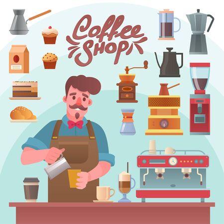 Vector character illustration of barista making coffee Ilustracja