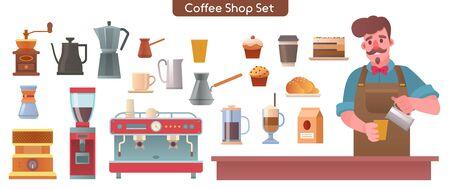 Vector illustration of barista, coffee shop set