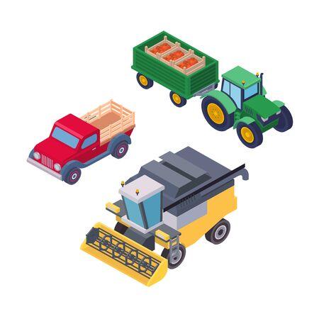 Machines agricoles isométriques pour le travail sur le terrain