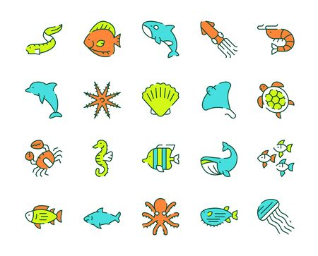 Vector color linear icon set of underwater fish, marine animals
