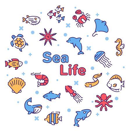 Vector color linear icon round set of sea life concept 版權商用圖片 - 147704185