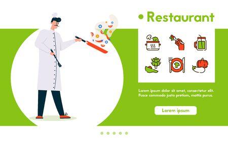 Vector banner illustration of chef cooking at restaurant Ilustração