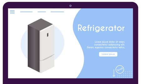 Vector banner of refrigerator in isometric view 向量圖像