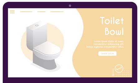 Vector banner of toilet bowl in isometric view
