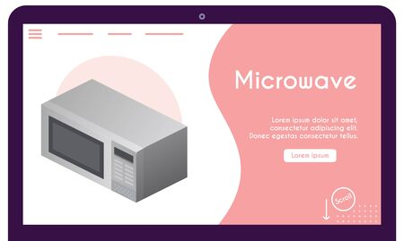 Vector banner of microwave in isometric view