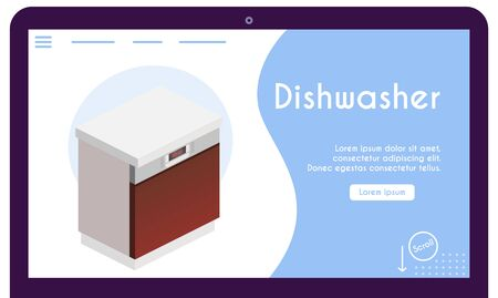 Vector banner of dishwasher in isometric view Illusztráció