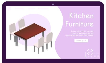 Vector banner of kitchen furniture in isometric view