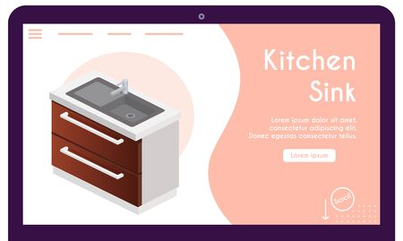 Vector banner of kitchen sink in isometric view