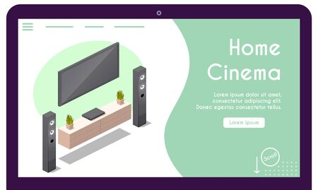 Vector banner of home cinema in isometric view