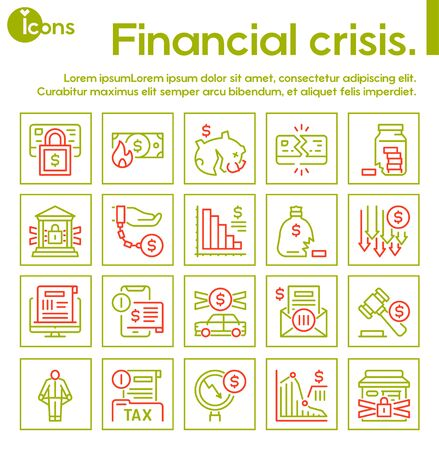 Vector linear icon of financial crisis, economy risk banner set