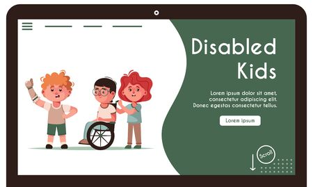 Vector banner illustration of disabled kids and friends