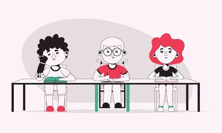 Vector character illustration of disabled boys and girl study at school