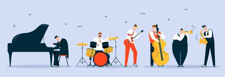 Vector character illustration of jazz band perform music Stok Fotoğraf - 147979805