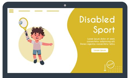 Vector banner illustration of disabled kid playing tennis. Boy with prosthetic arm holds racket, plays sport game. Support rehabilitation, adaptation handicapped childhood, inclusive, accessibility