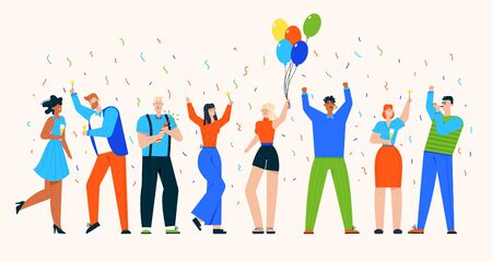 Vector character illustration of people celebrate holiday at party