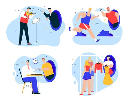 Vector character illustration of futuristic scenes teleportation