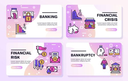 Vector banner illustration of banking, financial crisis, rick, bankruptcy