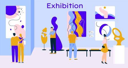 People visitors at exhibition of contemporary art in gallery Ilustración de vector