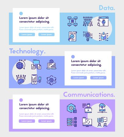 Vector color linear icon of datum banner set