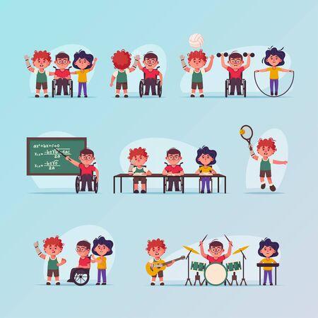 Vector character illustration disabled children scenes set Stock Illustratie