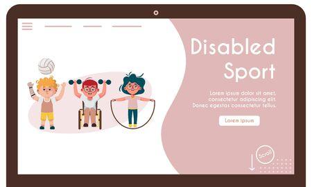 Vector banner illustration of disabled kids do sports exercises