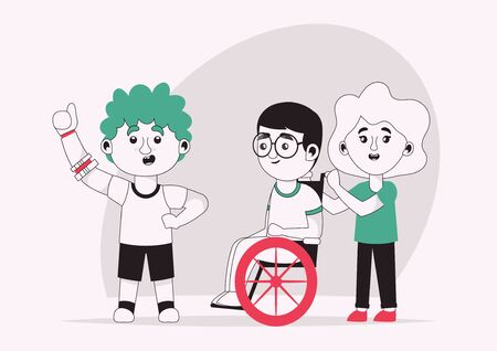 Vector character illustration of disabled kids with friends Illustration