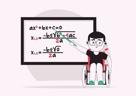 Vector character illustration of disabled boy inclusive education