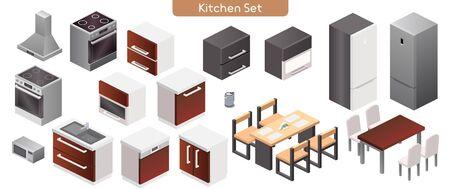 Vector illustration of kitchen modern interior furniture set