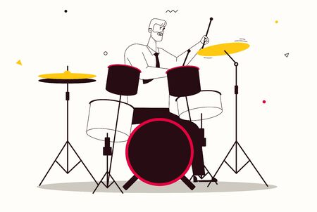 Vector character illustration of jazz band perform music. Musician play instrument. Hobbies, study, and profession, art, stage artist, concert