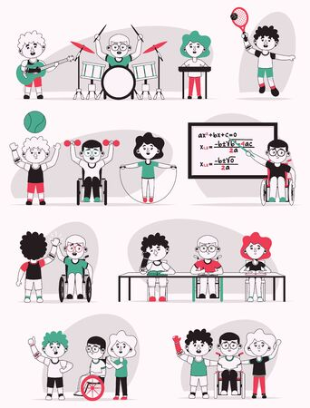 Vector character illustration of disabled kids life scenes set. Boys in wheelchair or prosthetic arm. Kids go to school, do sports or music hobbies. Friendship, childhood, diversity, communication Ilustracja