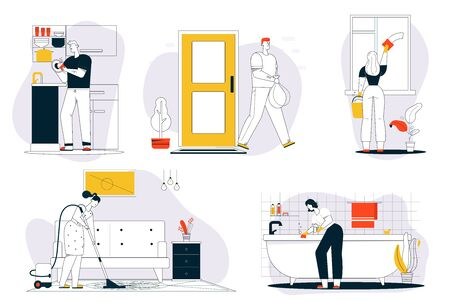 Vector character illustration of cleaning house scenes Vector Illustration