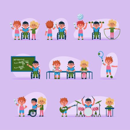 Vector character illustration disabled children life scenes set