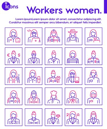 Vector color linear icon set of workers women objects 向量圖像