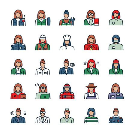 Vector color linear icon set of workers women. Outline symbol collection of different female professions concept. Judge, operator, plumber, teacher, policewoman, engineer, mechanic, farmer, designer Ilustración de vector