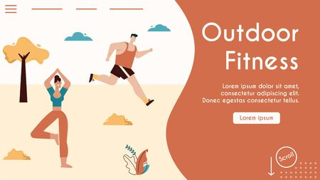 Vector banner of outdoor fitness. Man athlete running in city park, woman does yoga asana. Character illustration of sports activity, fitness scene, body and health care, urban lifestyle concept