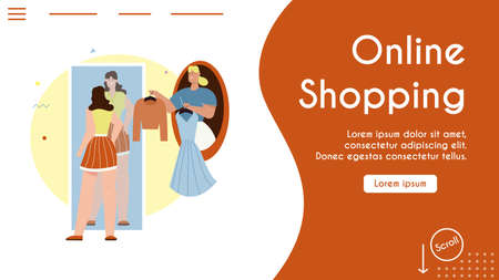 Vector banner illustration of online shopping, fashion stylist