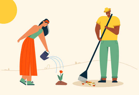 Man rakes autumn leaves, cleaning lawn. Woman watering flowers, is engaged in gardening. Couple of farmers work on farm together. Vector character illustration of village lifestyle, agriculture