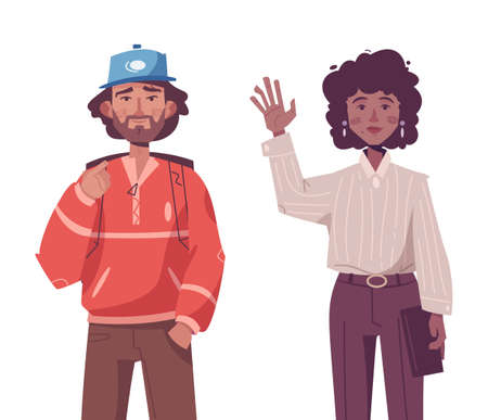 Young hipster man and woman wearing trendy outfits standing together