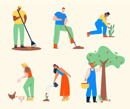 Farmers doing agricultural work. Man rakes leaves, digs earth, harvesting of apples from tree. Woman feeds chickens, gardening plants, watering flowers. Vector illustration of characters set isolated