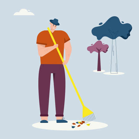 Man rakes autumn leaves, cleaning lawn. Farmer works on farm. Vector character illustration of village lifestyle, agriculture