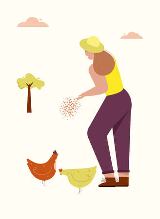 Woman feeds chickens, is engaged in poultry farming. Farmer works on farm. Vector character illustration of village lifestyle 矢量图像