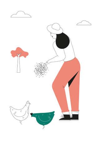 Woman feeds chickens, farmers work on farm