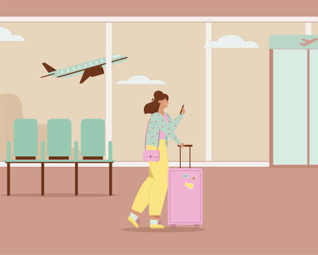 Woman with luggage using smartphone, walking in airport terminal Stock Illustratie