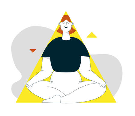 Vector linear character illustration of woman meditates at triangle shape