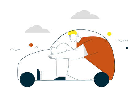Vector linear character illustration of man sitting at car linear silhouette