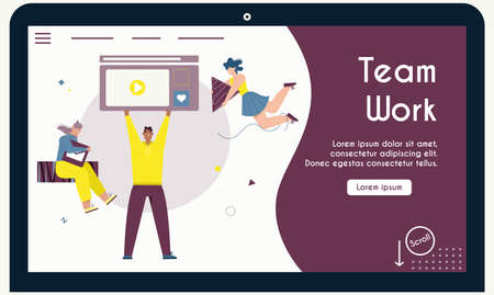 Vector banner of team work concept, office coworkers collaboration